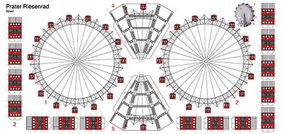 Bastelpostkarte I Riesenrad im Prater I Berliner Luft