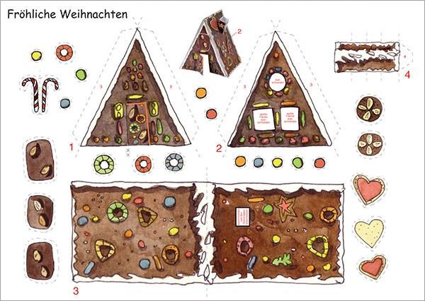 Bastelpostkarte Lebkuchenhaus Weihnachtskarte