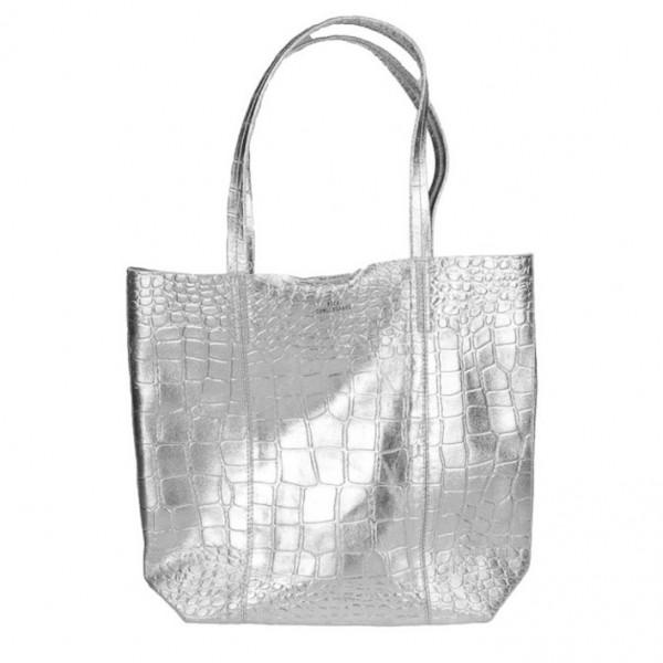 Tasche Leder Silber Becksöndergaard Shopper