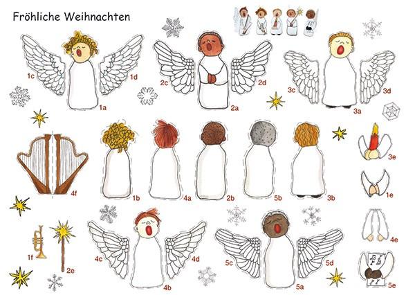 Bastelpostkarte Engelchor Weihnachtskarte