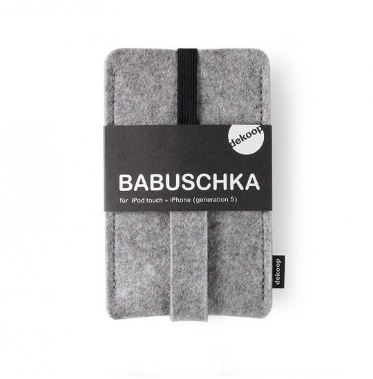 Babuschka Handytasche IPhone 1-4 Dekoop Wollfilz Hellgrau meliert