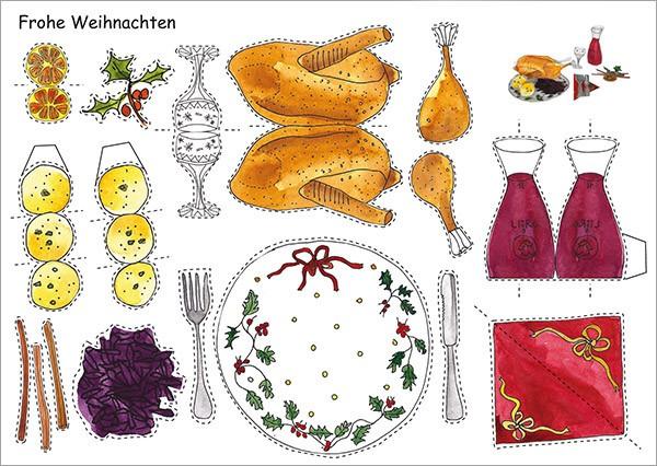 Bastelpostkarte Gänsebraten Weihnachtskarte