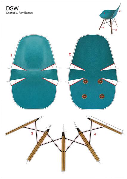DSW Eames Side Chair Bastelpostkarte Vitra