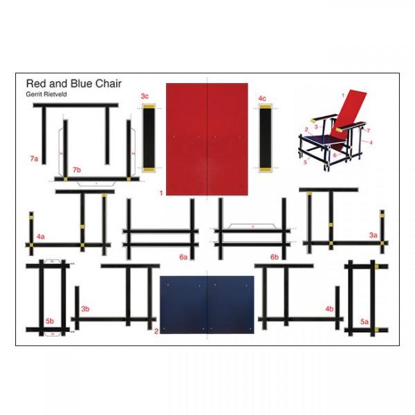 RietveldBastelpostkarte Red and Blue Chair