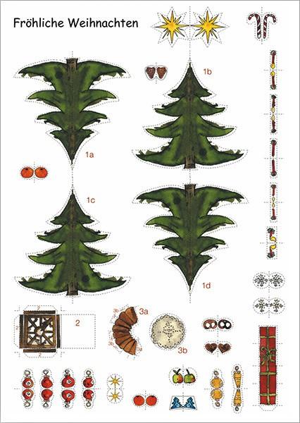 Weihnachtsbaum Fröhliche Weihnachten Weihnachtskarte Bastelpostkarte
