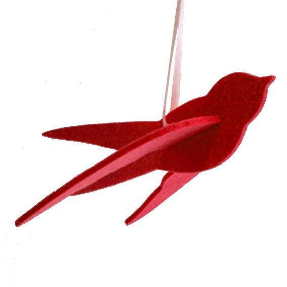 Schwalbe aus Filz in Purpur Rot