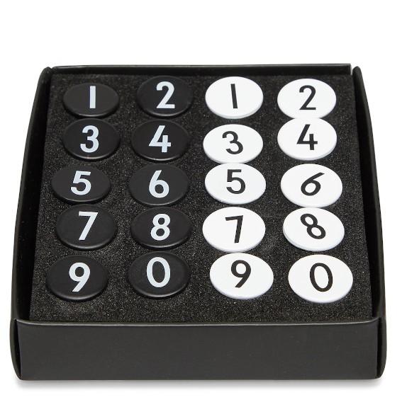 Zahlen Reißzwecken schwarz und weiß Design Letters