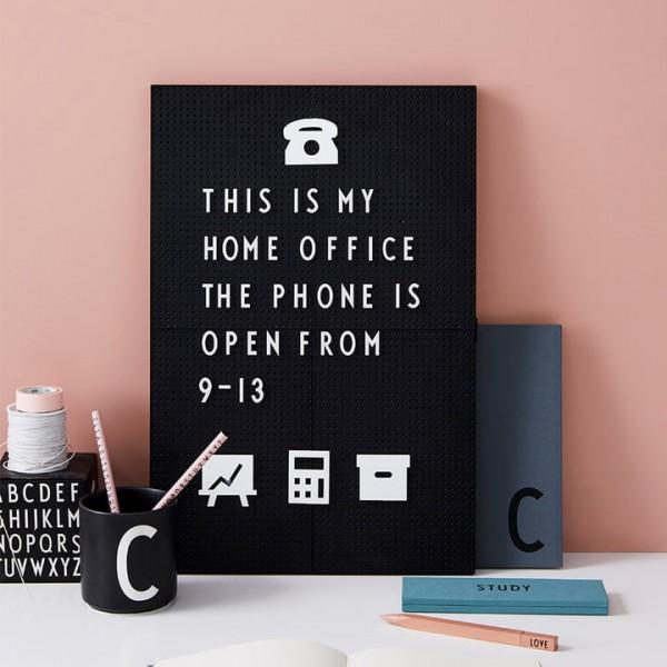 design Letters Message Board schwarz A4