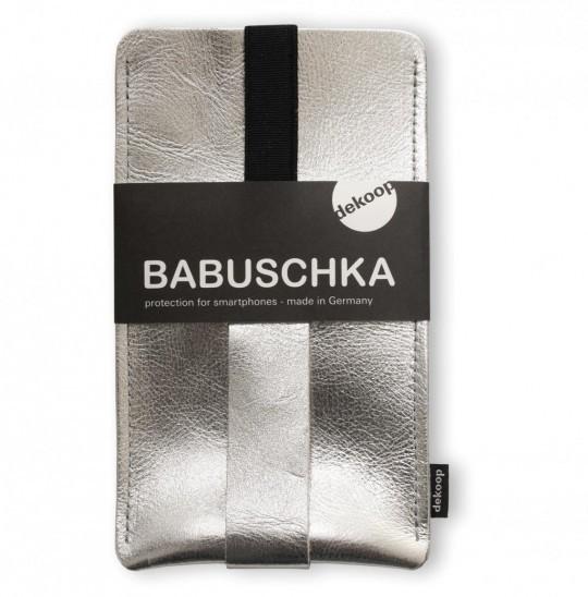 Handtasche iPhone 6+ Silber Leder