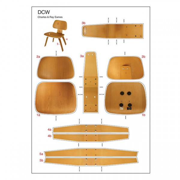DCW Eames Bastelpostkarte Vitra Dining Chair Wood
